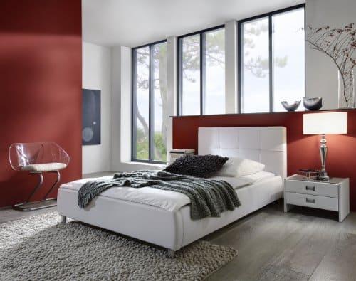 SAM Polsterbett 90x200 cm Zarah in weiß, pflegeleichtes Design-Bett mit Kunstlederbezug, abgestepptes Kopfteil