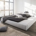 DELIFE Doppelbett Edina Weiss 180x200 gepolstert abgesteppt mit Ablagefläche