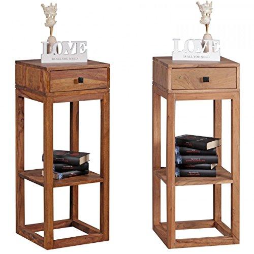FineBuy Beistelltisch Massivholz Design Anstelltisch Telefontisch mit Schublade und Ablage 35 x 35 x 90 cm Flur Konsole