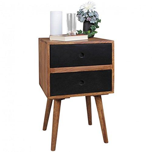 Retro Nachtkonsole REPA/Sheesham-Holz Nachttisch mit 2 Schubladen Dunkelbraun/Schwarz | Design Nachtkästchen 40 x 35 x 55 cm | Kleines Nachtschränkchen