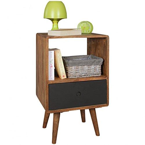 Retro Nachtkonsole REPA/Sheesham-Holz Nachttisch mit Schublade Dunkelbraun/Schwarz | Design Nachtkästchen 40 x 35 x 70 cm | Großes Nachtschränkchen