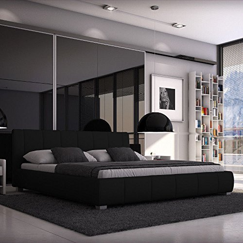 Sedex Bett Luna 180x200cm / Polsterbett/Designerbett / Kunstleder - schwarz