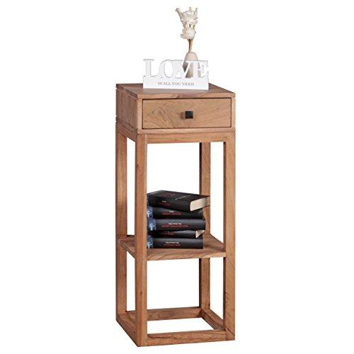 WOHNLING Beistelltisch Massivholz Anstelltisch Telefontisch mit Schublade 35 x 35 x 90 cm