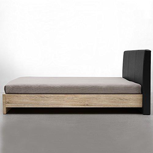 [en.casa] Design Polsterbett Skandinavia (140x200cm)(Furnier - Eiche Natur | Polster Schwarz) Modernes Bett/Kunst-Leder/mit Stecklattenrost /