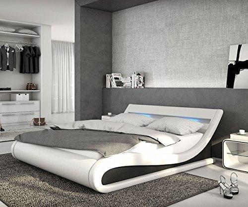 DELIFE Bett Belana Weiss Schwarz 180x200 cm mit LED Kopfteil Polsterbett