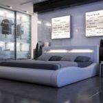 SAM Polsterbett 180x200 cm Sprint II in weiß, Kopfteil mit Beleuchtung, modernes Design, als Wasserbett geeignet