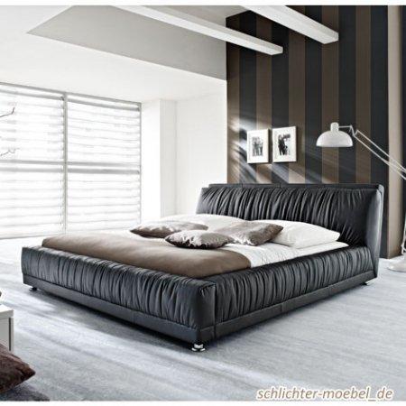 WIMÖ Polsterbett Bett Doppelbett Bettgestell Nueva 180x200 cm in Kunstleder Schwarz