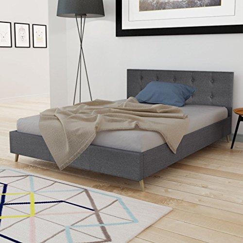 Anself Doppelbett Bett Gästebett 140x200cm aus Holz mit Stoffbezug ohne Matratze Dunkelgrau