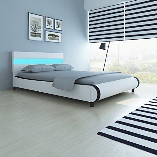 Festnight Bett Doppelbett Gästebett Schlafzimmerbett mit 140 cm LED-Leiste am Kopfteil und 200 x 140 cm Matratze