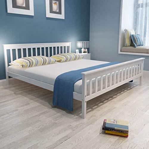 Festnight Bettgestell Holz Bett Modern Holzbett Doppelbett Massivholzbett mit Lattenrost Kiefer Massiv, Weiß 180 x 200 cm