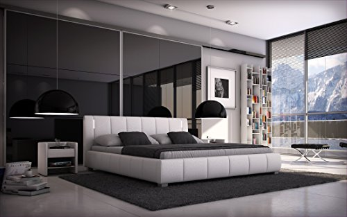 Bett LUNA 140x200cm Doppelbett / Polsterbett inkl. LED / Kunstleder - weiß