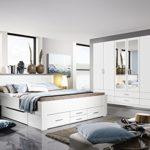 Rauch Schlafzimmer Komplettangebot Drehtürenschrank 6-türig, Schubkastenbett 180 x 200 cm, 2 Nachtkonsolen alpinweiß