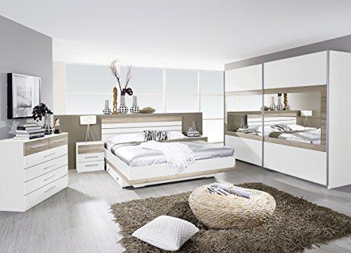Rauch Schlafzimmer Komplettangebot Schwebetürenschrank 271 cm/Bett 160 x 200 cm / 2 x Nachtkonsole Alpinweiß-Eiche Sanremo