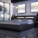 SAM Polsterbett 160x200 cm Sprint II in schwarz, Kopfteil mit Beleuchtung, modernes Design, als Wasserbett geeignet