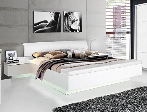 expendio Doppelbett Sophie 1 weiß Hochglanz 180x200 Ehebett mit 2X Nachtkonsole Beleuchtung Bett Bettgestell Nachttisch Nako