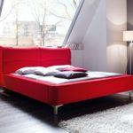 expendio Polsterbett Cloude Bett 160x200 cm Stoffbezug rot Doppelbett Ehebett Designerbett Schlafzimmer