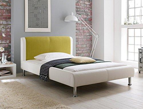 expendio Polsterbett Falo 120x200 cremeweiß grün Designerbett Singlebett Jugendbett Bettgestell Kunstlederbett Einzelbett Gästebett