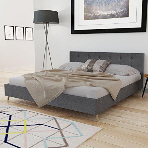 Anself Doppelbett Bett Gästebett 160x200cm aus Holz mit Stoffbezug ohne Matratze Dunkelgrau