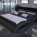 SAM® Polsterbett Innocent Bett Nerius II in schwarz 180 x 200 cm geschwungene Seitenteile Kopfteil mit Beleuchtung modernes abgerundetes Design Wasserbett geeignet