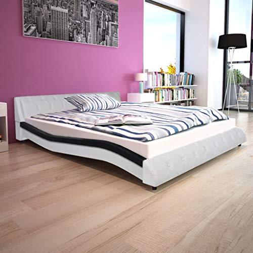 Tidyard- Bettrahmen Kunstleder Bettgestell 160x200 cm Doppelbett Tagesbett Schwarz und Weiß