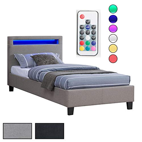 CARO-Möbel Polsterbett Himalaya mit LED Beleuchtung Einzelbett Jugendbett 90 x 200 cm mit Lattenrahmen, 2 Farben Stoffbezug