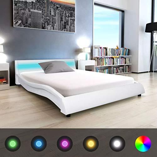 Festnight- LED Bett mit Bettkasten 140 x 200 cm | Kunstleder Polsterbett mit LED-Beleuchtung | Bettgestell mit Lattenrost Weiß/Schwarz