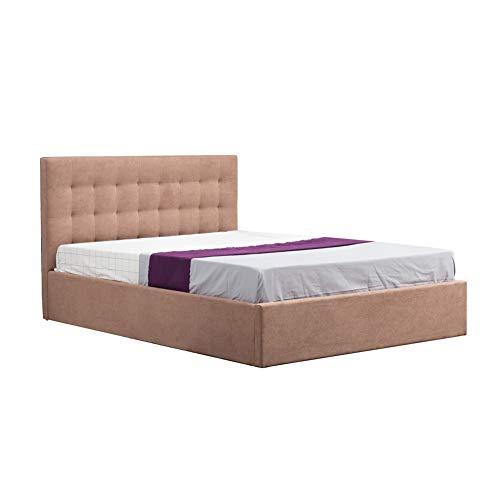 OFCASA Luxuriös Polsterbett Doppelbett Claire 140 x 200 cm Inklusive Lattenrost, mit Stoffbezug, für Schlafzimmer, Hotel