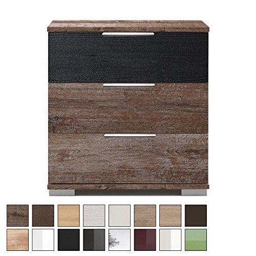 Wimex NIGO166 Nachttisch für Boxspringbett geeignet (Höhe 58 cm), Nachtkommode, Holz (MDF) oder Glas, BxHxT: 52 x 58 x 38 cm, 3 Schubladen, Made in Germany