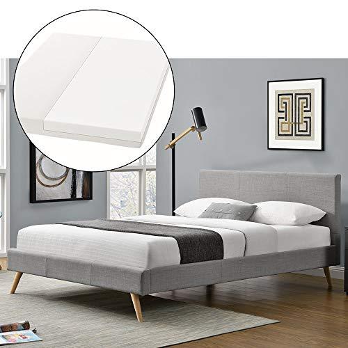 ArtLife Polsterbett Toledo 140 × 200 cm hellgrau | Bettgestell mit Kaltschaummatratze, Lattenrost & Stoff | Einzelbett Jugendbett Bett