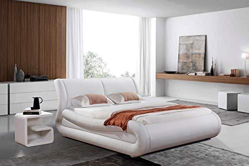 SAM Design-Polsterbett 180x200 cm Clip Plus, Kunstleder weiß, Bett mit bequemer Einstiegshöhe, geschwungene Form