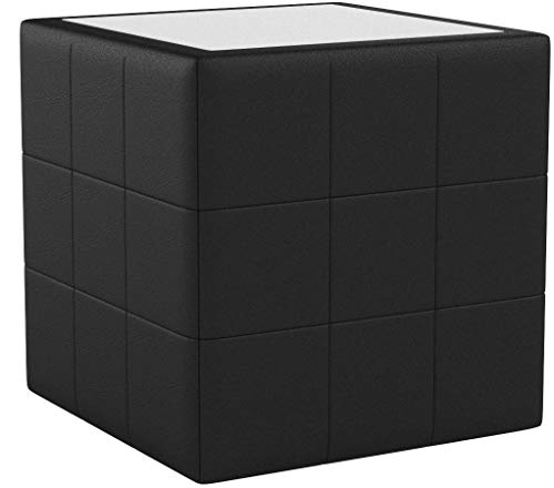 SalesFever Nachttisch mit LED Kunstleder gesteppt quadratisch 41x41 cm Boco
