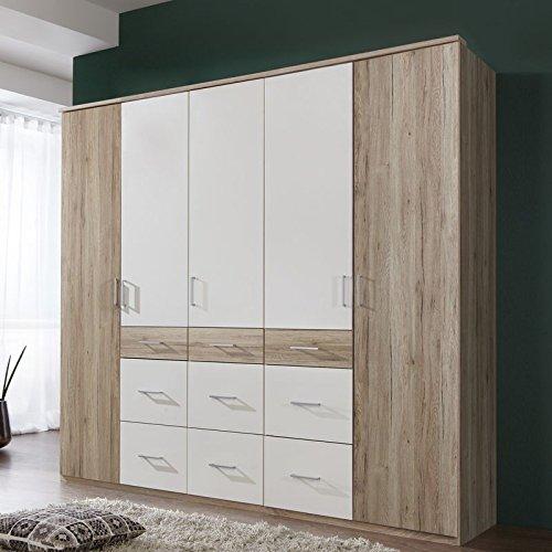 Wimex Kleiderschrank/ Drehtürenschrank Click II, 5 Türen, 6 Schubladen, (B/H/T) 225 x 210 x 58 cm, San Remo-Eiche/Absetzung Weiß